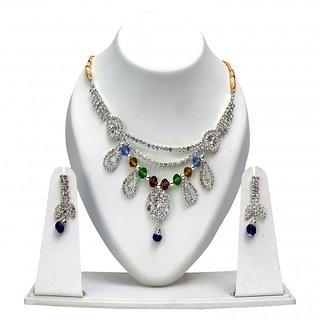 Triveni Striking Multi Colored Austrian Diamonds Crystals Necklace