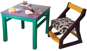 Solid wood Kids Chair and Study Table (multicolored) from MUBELL