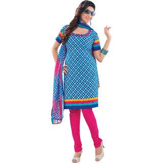Aagaman Cute Blue Colored Printed Crape Salwar Kameez (Unstitched)