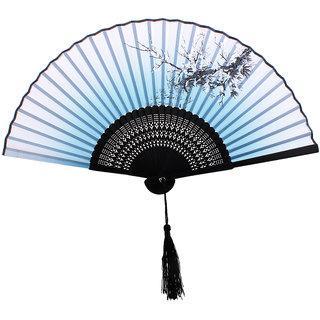 Plum Blossom Pattern Hand Fan Bamboo Japanese Folding Fan Pocket Fan Blue