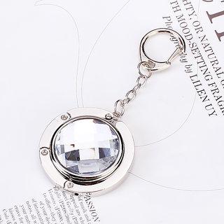 Round Folding Purse Handbag Hanger Hook Holder w/ Keychain - Clear