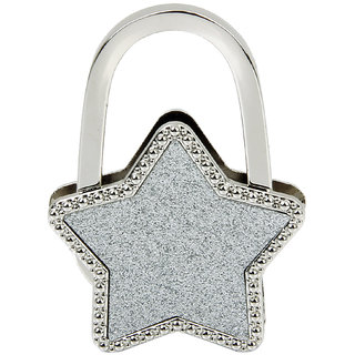 Unisex Table Star Foldable Purse Bag Hanger Handbag Hook Holder Silver