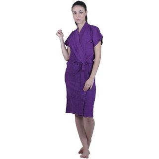 Vixenwrap Violet Solid Water Absorbent Cotton Bathrobe