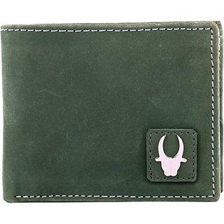Wildhorn Men Casual Green Genuine Leather Wallet (7 Card Slots)