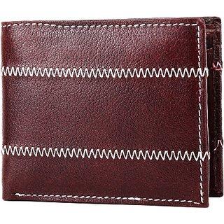 Wildhide Men Casual Brown Genuine Leather Wallet  7 Card Slots