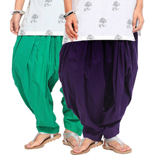 Brandtrendz Set Of 2 Cotton Patiyala Salwar (SsalwarGrnDpurpl)
