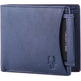 Wildhorn Men Casual, Formal Blue Genuine Leather Wallet (6 Card Slots)
