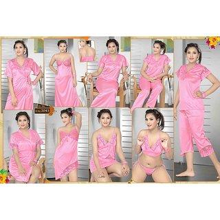 62406a3578 Womens 12pc Lingerie Set Babydoll Top Capri Pajama Skirt Nighty Gown Oc Robe