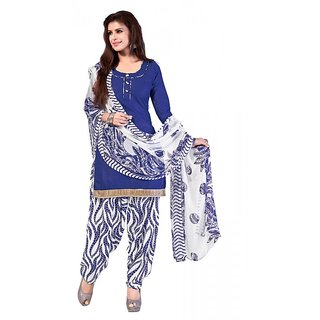 Khushali Presents Cotton Patiyala Dress Material(Blue,White)