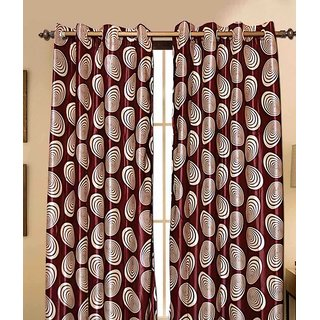 k decor maroon print curtain fabric(5 mtr)
