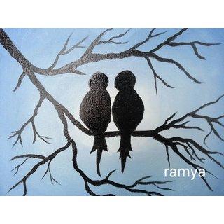 Love birds on tree oil painting