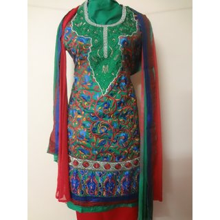 Green full Embroidery Designer Suit material (Unstitched)