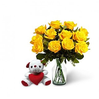 KaBloom Dozen Yellow Rose Bouquet & Teddy