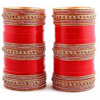 Red Bridal Punjabi Chudas , Wedding Chudas With American Diamond