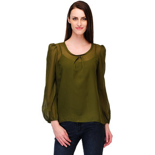 34b04edd2444b2 Buy Payless Full Sleeve Womens Dark Green Top Online - Get 70% Off