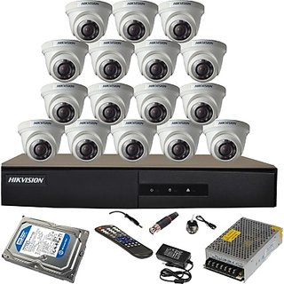 Hikvision 7216-HGHI-E1 16 DVR 16 HD Dome Cameras + 1 TB HDD Total KIT
