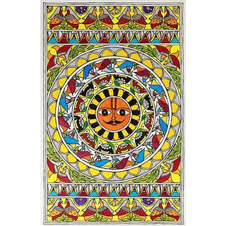 Classic Madhubani Painting re print on canvas 36 X 24  size