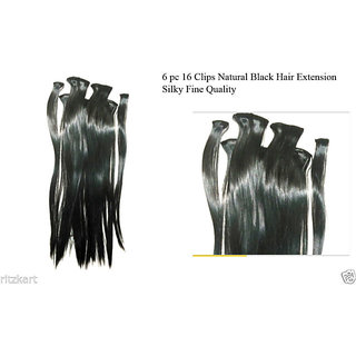 Hair extension 6 pc Natural feeling hi quality With free gift worth 199/- black