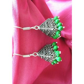 silver colored oxidised jhumka with green beads