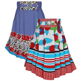 Jazzup Red  Blue Cotton Printed Pack of 2-Girls Skirts