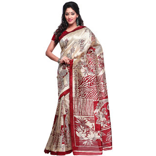 Prafful Cream And Maroon Bhagalpuri Silk Printed Saree  GS102464
