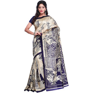 Prafful Cream And Navy Blue Bhagalpuri Silk Printed Saree  GS102466