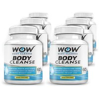 Wow Body Cleanse - Colon Cleanse  Detox Dietary Natural Weight Management Supplement - 60 Veg Capsules (Pack Of 6)