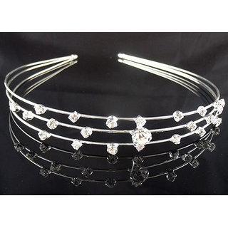Wedding Party Bridal Bridesmaid Flower Girl 3-Row Crystal Crown Headband Tiara