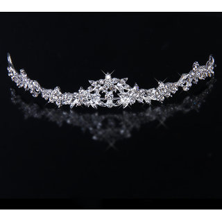 Trendy Bridal Rhinestone Crystal Flower Crown Headband Veil Tiara Wedding Prom New