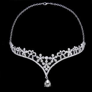 Wedding Party Bridal Bridesmaid Crystal Flower Rhinestone Crown Tiara / Frontlet