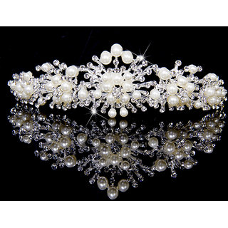 Bridal Rhinestone Crown Headband Tiara with Pearls for Wedding Party Prom