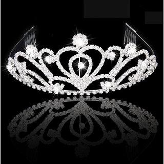 Fashion Rhinestones Bride Crown Headband with Comb Tiara Wedding Party