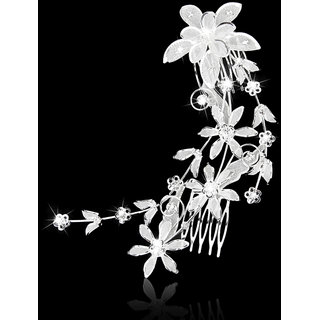 Bridal Wedding Flower and Leaves Crystal Rhinestone Hair Comb Hair Accessory