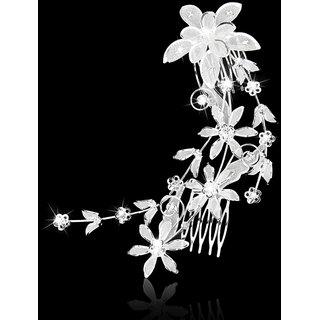 Bridal Wedding Flower and Leaves Crystal Rhinestone Hair Comb Hair Accessory