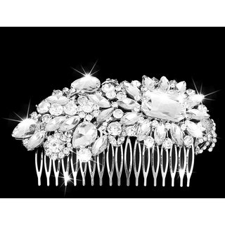 Flower Crystal Rhinestones Diamante Hair Comb Slide Clip Bridal Wedding Prom