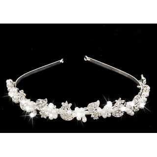 Bridal Wedding Crystal Rhinestone Pearl Flower Headband Hair Band Tiara