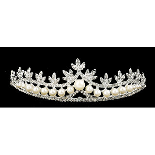 Pearl Crystal Rhinestone Crown Headband Veil Tiara for Wedding Bridal Prom