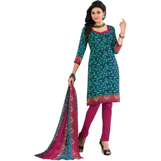 Aagaman Appreciable Green Colored Printed Crape Salwar Kameez (Unstitched)