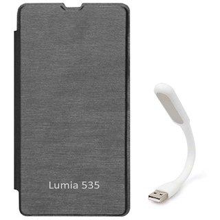 Tbz Flip Cover Case For Microsoft Lumia 535  With Flexible Usb Led Light Lamp -Black MSL535OGBLKLED