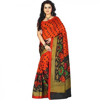 Gerbera Designer Amazing Bhagalpuri Silk Orange Designer Printed Saree