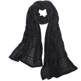 Woman Sun UV Protection Long Chiffon Pashmina Wrap Scarf Stole Shawl Black