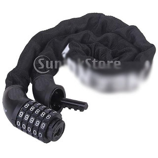 5 Digit Combination Bike Bicycle Steel Chain Coded Lock Black