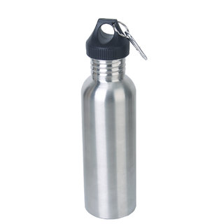 Stainless Steel 750 ML Cycling Camping Sports Drinking Wide Mouth Water Bottle Flask W/ Carabiner Clip