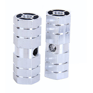 BMX Bike Bicycle 3/8 Axle Alloy Foot Pegs - Silvery