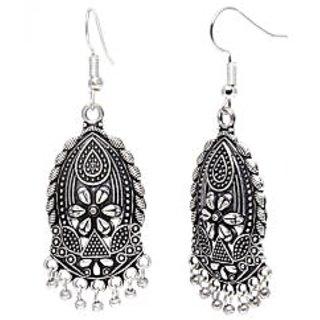 Silver Alloy Hanging Earrings