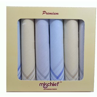 Mischief Mens Handkerchief Pure Cotton 44 x44 Cms- Pack of 6 emzm606h6