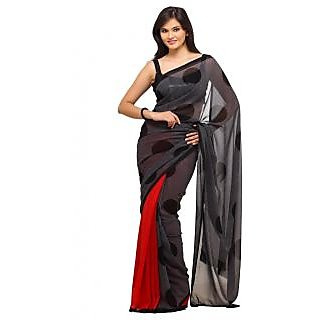 Black  Red Printed Georgette Sarees