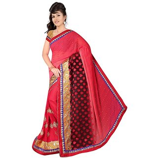 Red color designer buttiwork saree with blause