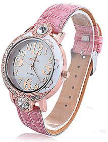 Zircon Analog Quartz Wrist Watch(Pink)