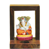 Wooden Candle Stand With Ganesha